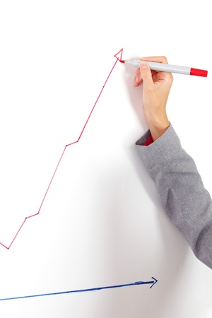 business woman draws a graph on the wall Stock Photo - 8743997