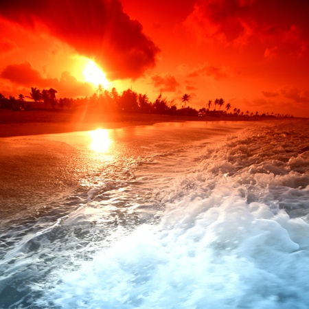 landscape ocean sunrice golden sky Stock Photo - 8744093