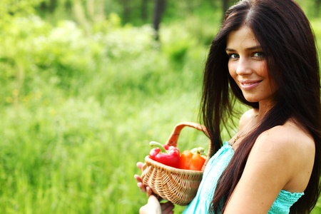 healthy life: woman give paprica to you