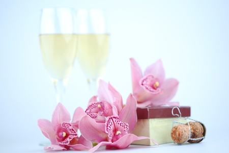 holyday card champagne and orchid Stock Photo - 8745961