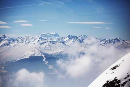 top of mountains in blue sky Stock Photo - 8746293