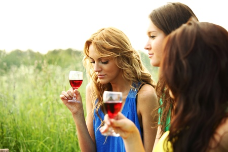 women drink wine on piknic photo