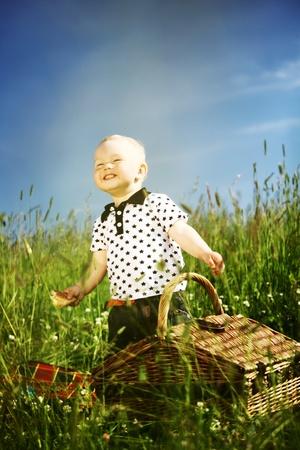 young smile boy enjoy on picnic  photo