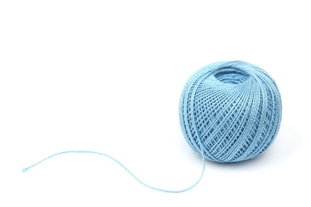 blue thread isolated on white background Stock Photo - 8751841