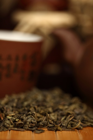yellow tea pot: china tea background close up Stock Photo