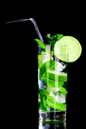 mojito isolated on black close up photo