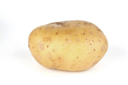 spud: one potato isolated on white background Stock Photo