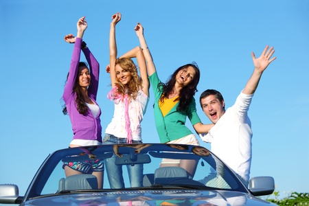 cabriolet: people group  fun  in cabriolet Stock Photo
