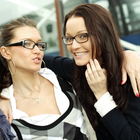 very funny laughing happy girlfriends close up photo