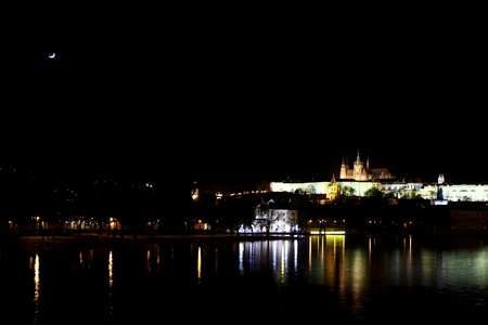 night prague lights in water photo