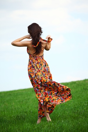 happy woman on green grass  photo