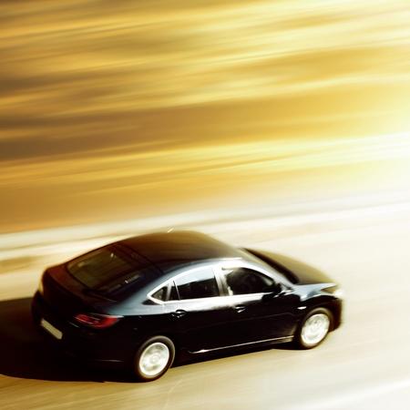 sunrise trip on speed car blurred inmotion Editorial