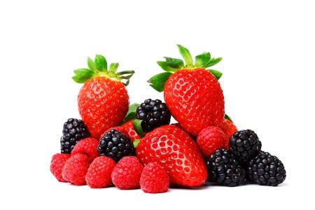 blackberry fruit: big berry pile isolated on white