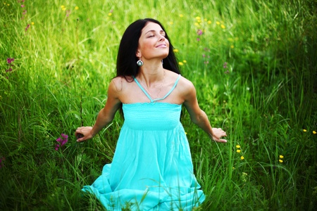 beautiful woman on flower field Stock Photo - 8917374