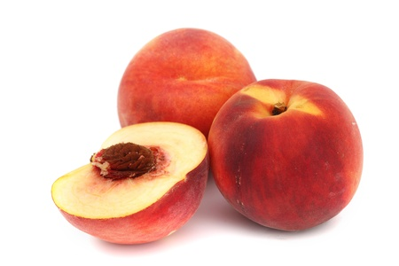 velvety: peach pile slice isolated on white Stock Photo