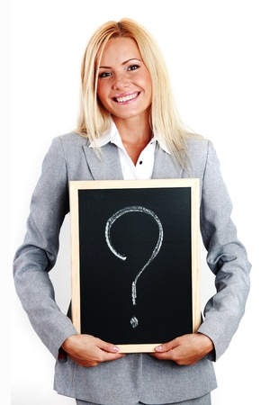 business woman take question sign in hands Stock Photo - 8917524