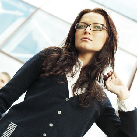 outdoor business women on modern background photo