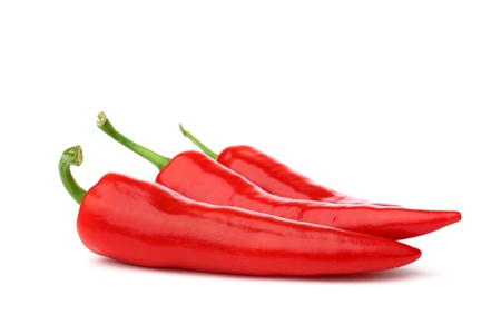 spicy chilli: red hot chili pepper isolated on white