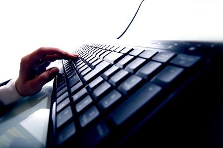 personal data: hand press a key on keyboard