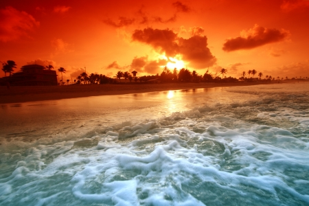landscape ocean sunrice golden sky photo