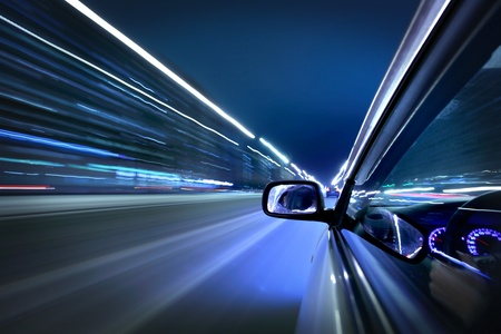 highway lights: car fast drive on highway in night