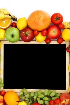 desk in big fruit pile photo