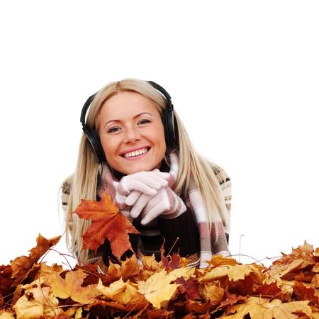 autumn woman listening music in studio photo