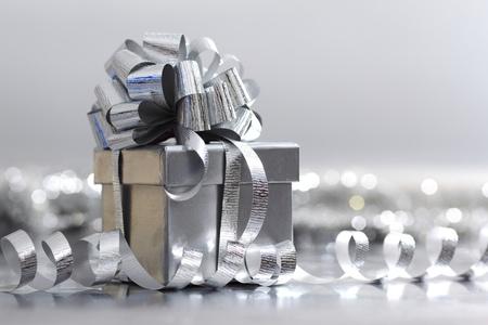 silver christmas gift macro close up Stock Photo - 9121862