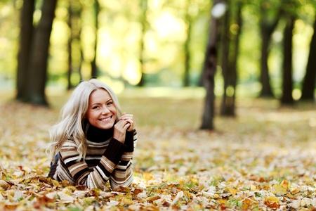 autumn woman portret in park Stock Photo - 9121488
