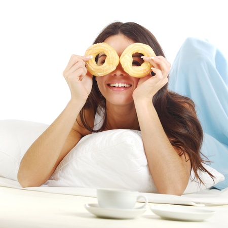 woman wake and see morning coffee Stock Photo - 9175087