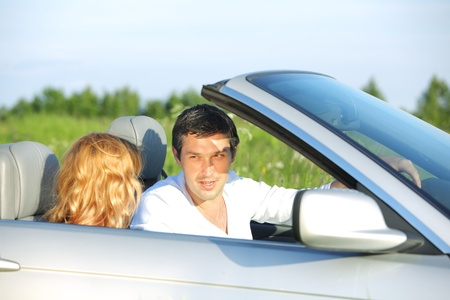 love in cabrio woman and man Stock Photo - 9198985
