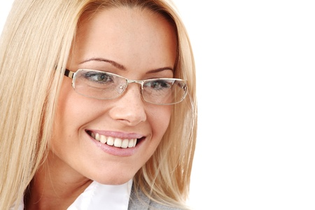 business woman in glasses on white background photo