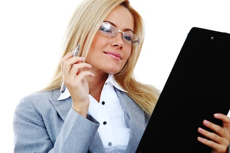business woman hold a folder of papers  and write Stock Photo - 9206983