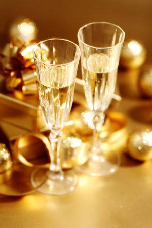 golden christmas background champagne gifts ball Stock Photo - 9206196