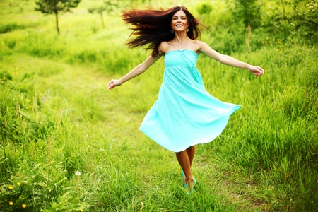 joy of life: happy woman dance in forest