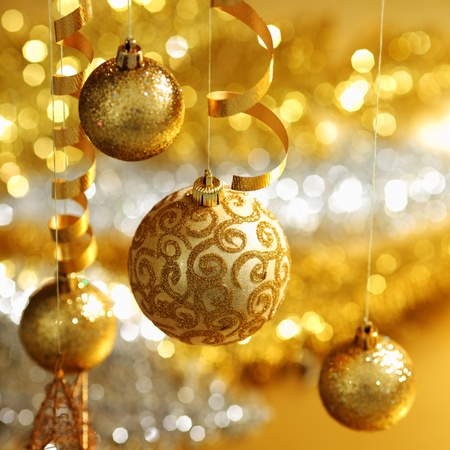 golden christmas balls on bokeh background Stock Photo
