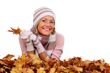 studio portrait of autumn woman in  yellow leaves Stock Photo - 9208127