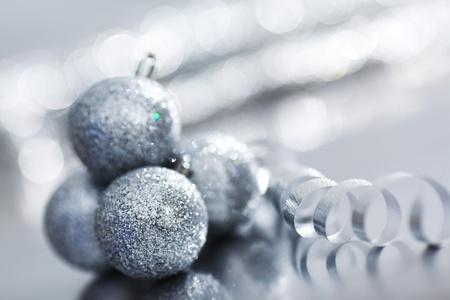silver christmas ball macro close up photo