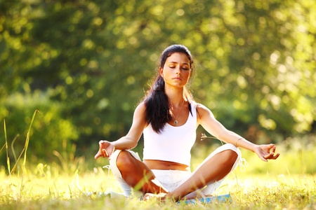 yoga woman on green grass in lotus pose Stock Photo - 9208370