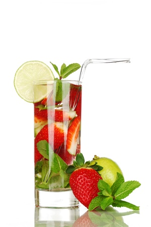 strawberry mojito isolated on white photo