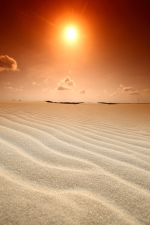 arabic desert: desert sand under blue sunny sky Stock Photo