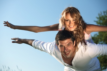man and woman hug in the sky Stock Photo - 9289178