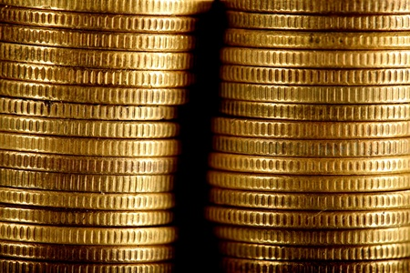 golden coins on black background Stock Photo - 9343918
