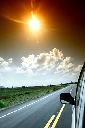 rear view mirror: speedy day drive on car