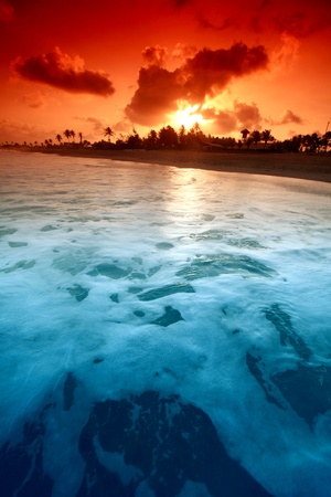 landscape ocean sunrice golden sky Stock Photo - 9410052