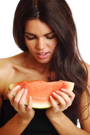 woman hold watermelon in hands isolated on white Stock Photo - 9855283