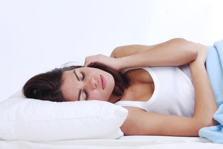 waking woman on the white pillow Stock Photo - 9855473