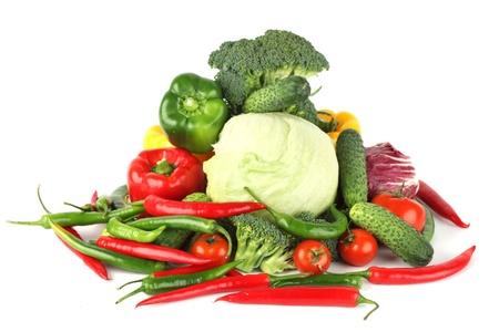 vegetable pile isolated on white photo