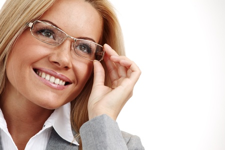 business woman in glasses on white background Stock Photo - 9862084
