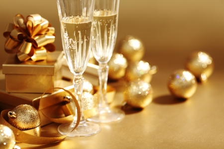 golden christmas background champagne gifts ball Stock Photo - 9855785